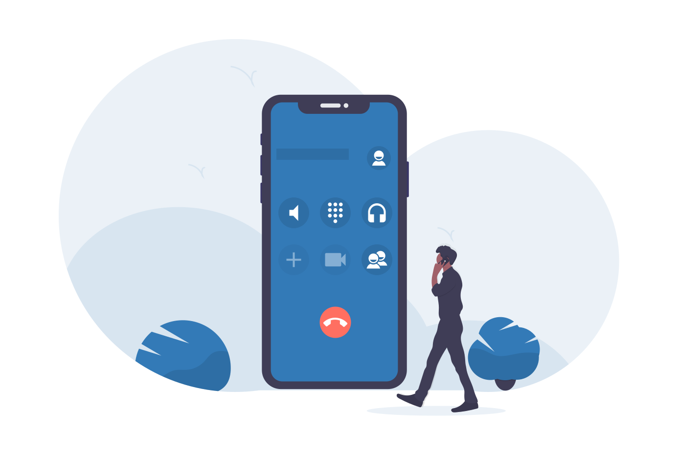 illustration of a large mobile and someone on a call